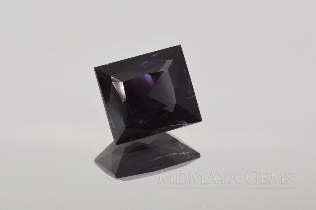 Dark Violet Spinel Gemstone from Sri Lanka Rectangle Cut 2.30 ct