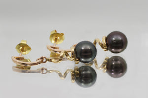 Tahitian Cultured Pearls in both Yellow and Pink gold 18k Earrings