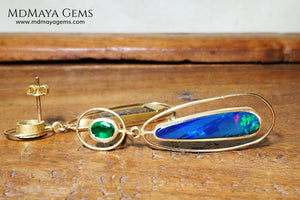 emerald and opal doublet earrings