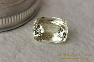 Untreated Light Yellow Heliodor Gemstone. Cushion Cut Beryl. 4.79 ct.