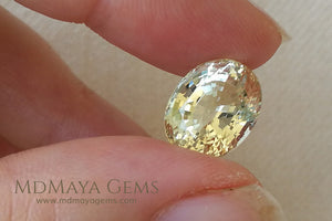 Greenish Yellow Heliodor Gemstone Oval cut 5.53 ct under daylight