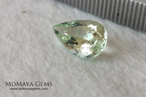 Light yellowish green Beryl. Pear cut, 2.87 ct. Elegant and bright natural gemstone, with excellent proportions and clarity. A beautiful and affordable untreated gemstone.