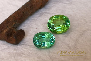 Vivid Green Tourmaline 4.14 ct oval cut and Paraiba Tourmaline 2.40 ct