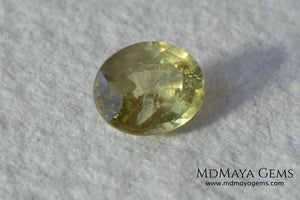 Pale Greenish Yellow Sapphire, Oval Cut. 1.12 ct. Nice unheated gemstone at an affordable price. It will very pretty in any kind of jewelry.
