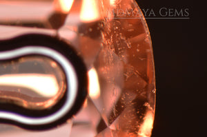 Inclusions in Natural Peach Pink Tourmaline from Mozambique. Fancy Cut. 3.27 ct