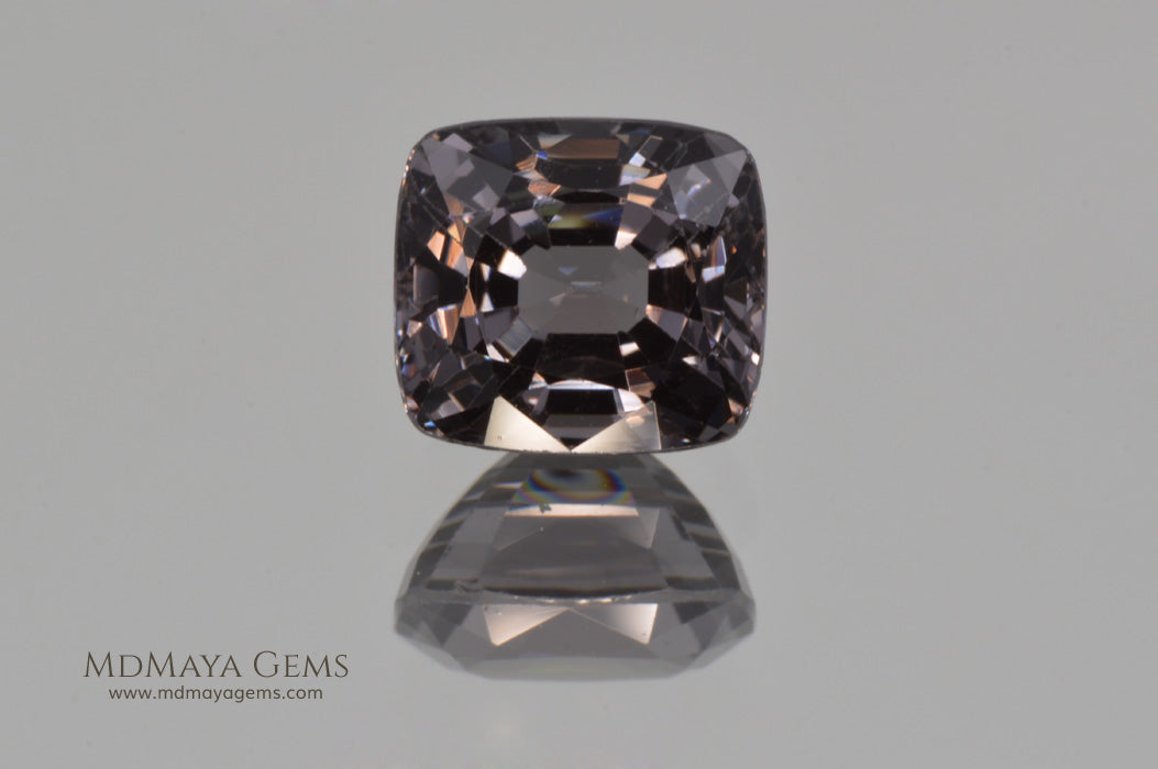 Magnificent Greyish Purple Burmese Spinel Cushion Cut 3.25 ct