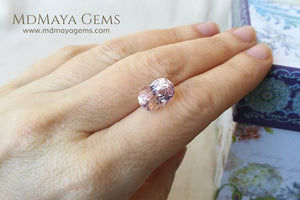 Natural Pink Kunzite 6.11 ct under daylight