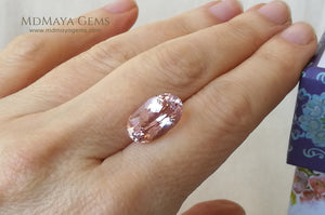 Light Pink Kunzite Stone 7.83 ct under daylight