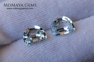Beautiful pair of very light blue topazes. 6.50 ct