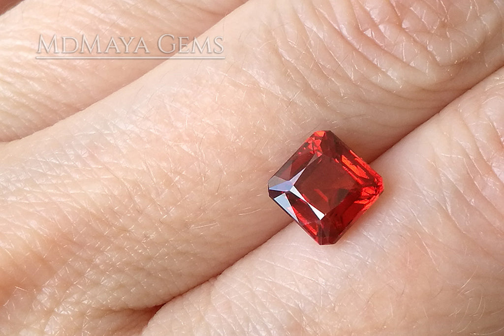 Stunning Vivid Reddish Orange Spessartite Garnet. Square Cut. 2.64 ct.