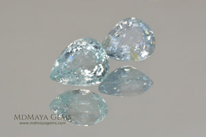 Pair Blue Paraiba Tourmaline Gemstones Pear Cut 3.41 ct total