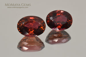 Natural Pair Dark Orangy Red Tourmaline Oval Cut 9.33 ct