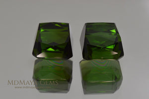 Pair Dark Green Tourmalines Fancy Cut 12.74 ct