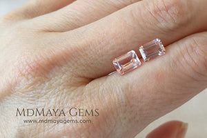 Pair Pink Morganite Emerald cut 2.44 ct