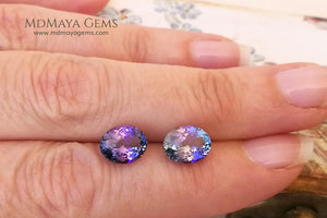 Blue Green Tanzanite Oval Cut Tanzanite Stones 3.63 ct pair