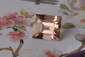 Natural Large Peach Morganite. Rectangle cut. 7.50 ct.