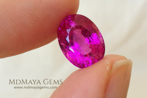 Neon Pink Rubellite Tourmaline from Mozambique Oval Cut 4.14 ct under daylight