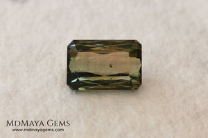 Bicolor Green Tourmaline 2.33 ct, emerald cut. This olive green bicolor tourmaline shows a orange - peach color depending on how the light falls on it. It has a good quality of cut and will look very beautiful in any piece of jewelry. A natural untreated gem at a low price.
