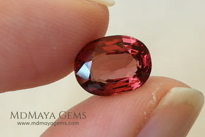 Unheated Orange Red Spinel from Mogok Cushion Cut 2.37 ct