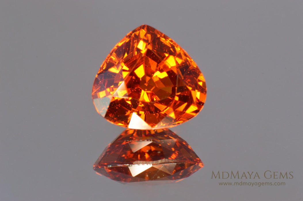 Vivid Orange Mandarin Spessartite Garnet Pear cut 4.26 ct