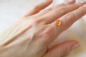 Precious Golden Orange Imperial Topaz 3.63 carat Square Cabochon Cut ideal for jewelry
