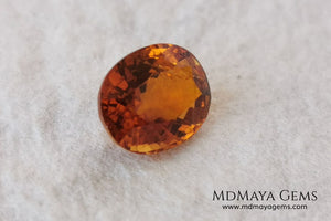 Orange Tourmaline from Tanzania. 1.02 ct. Oval cut. Rare gemstone with a beautiful honey color. It will look perfect in any piece of jewelry.