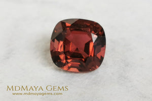 Reddish Orange Tourmaline for sale 1.77 ct cushion cut 7*7 mm MdMaya Gems