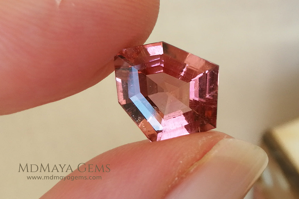 Orangy Red Tourmaline Fancy Cut 3.80 ct