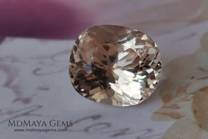 "This Morganite has the salmon-to-peach color typical of untreated material. Oval ""Portuguese"" cut. 2.70 ct. Elegant gem with a spectacular cut, due to its multiple facets it has a great shine, looking stunning from any angle. It will look lovely mounted on any piece of jewelry, a great gem at an incredible price."