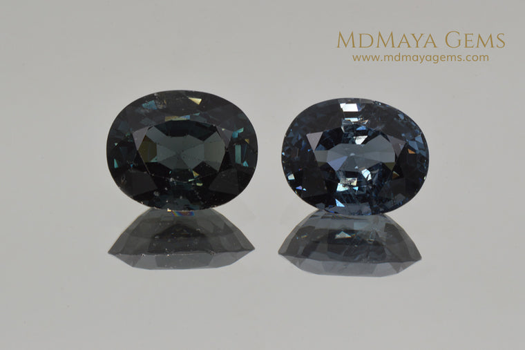 Beautiful Pair of Deep Blue Mogok Spinel Oval cut 6.34 ct total