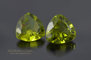 Genuine Green Peridot Gems Trillion Cut 6.50 ct pair