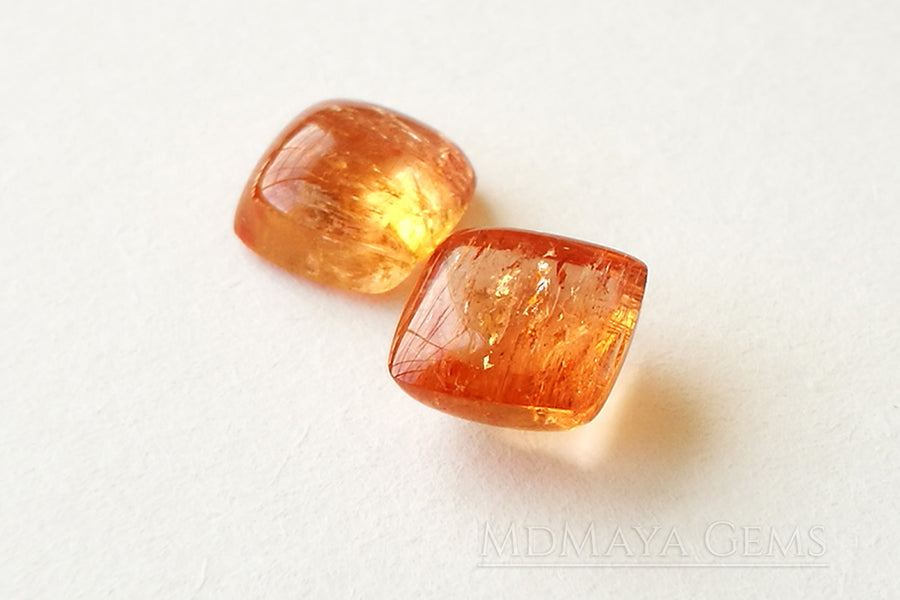 Genuine Orange Imperial Topaz Gemstones 5.26 ct Pair