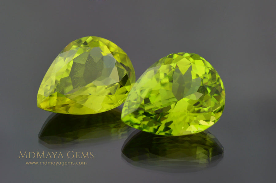 Richest Green Peridot Gems Pear Cut 13.41 ct pair