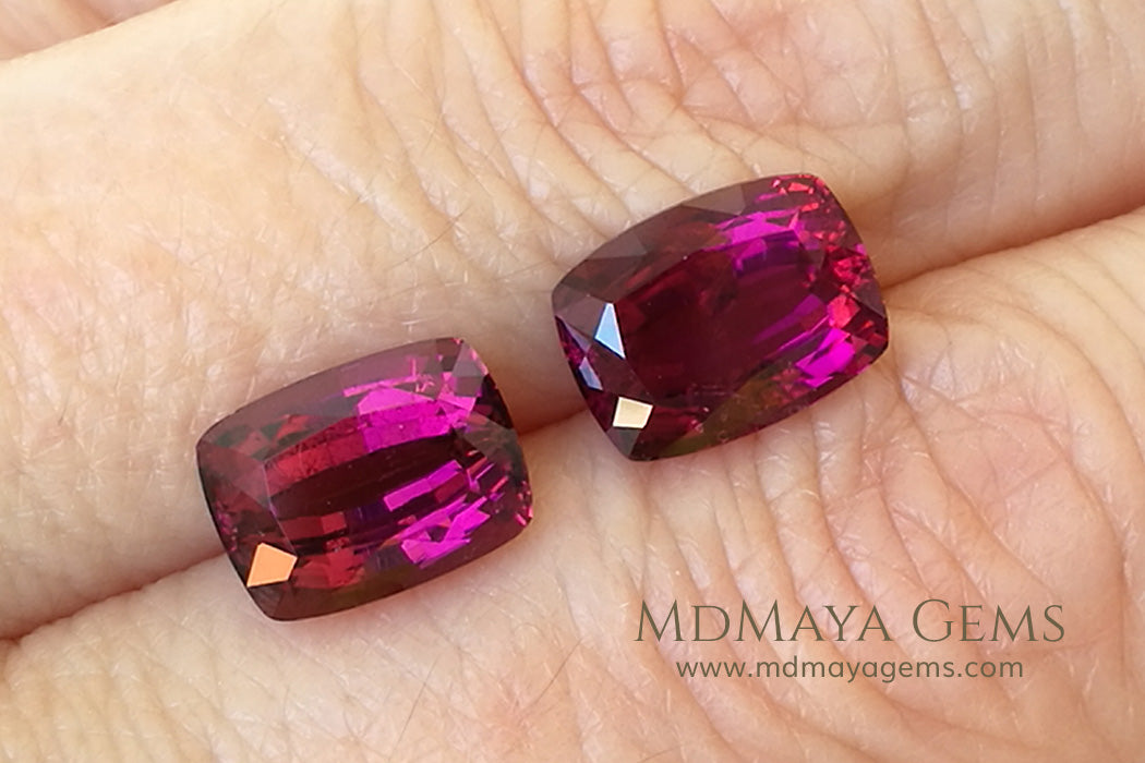 Pair Rubellite Tourmaline from Mozambique Fabulous Match 6.25 ct pair cushion cut under daylight