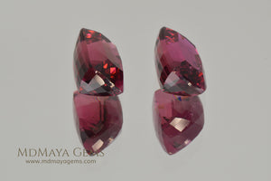 Pair Rubellite Tourmaline from Mozambique Fabulous Match 6.25 ct pair cushion cut