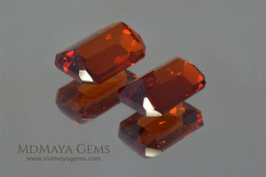 Pair Orange Spessartite Garnets Emerald cut 5.45 ct