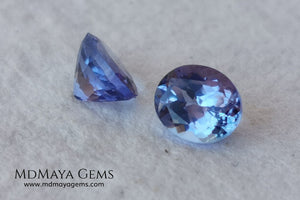 Perfect pair of tanzanites Oval cut 1.65 ct