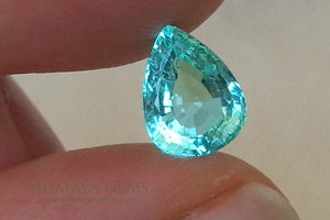 Finest Neon Greenish Blue Paraiba Pear Cut 2.21 ct under daylight