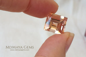 Natural Large Peach Morganite Rectangle cut 7.50 ct under daylight