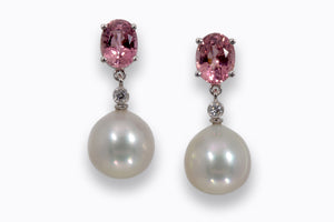 Silver Pink South Sea Pearl Earrings with diamonds