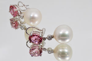 Girdle of Silver Pink South Sea Pearl Earrings with diamonds