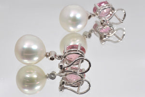 Pavilion of Silver Pink South Sea Pearl Earrings with diamonds