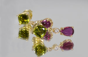 Earrings  yellow gold Peridots, Tourmalines and Diamonds