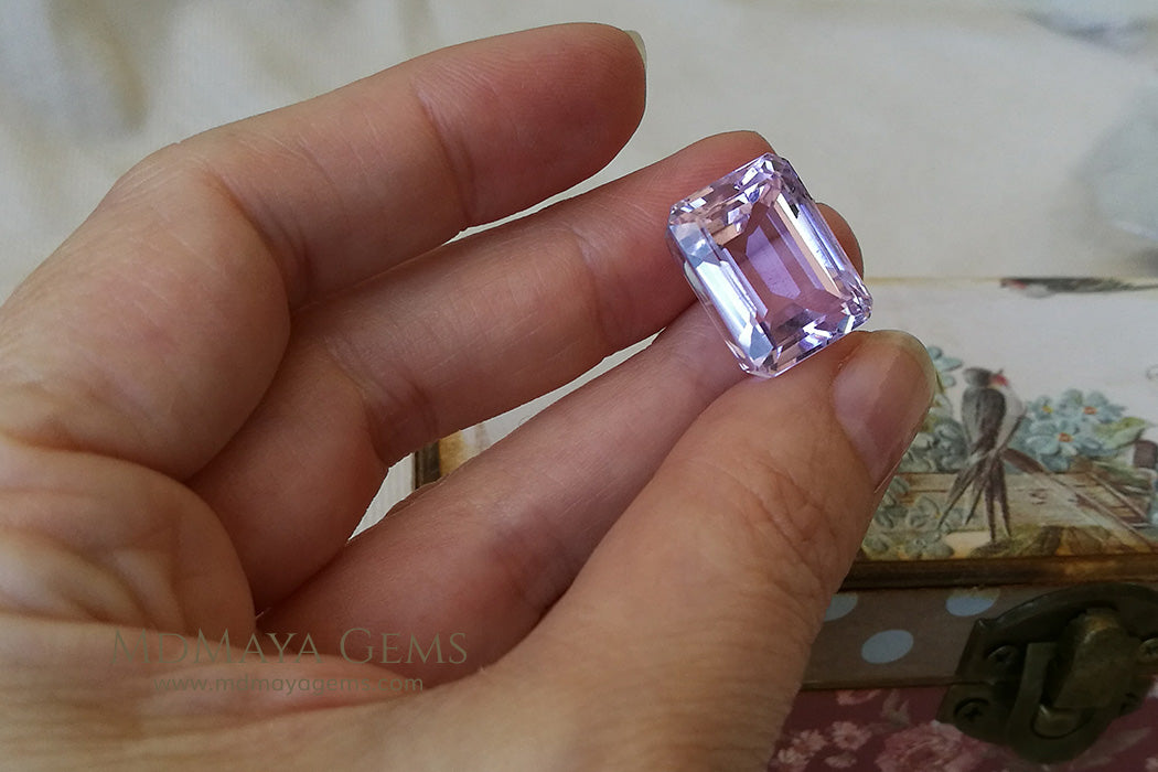 Brilliant Pink Kunzite Gemstone Emerald Cut 23.75 ct