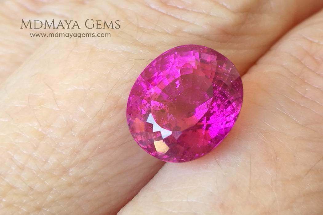 Vivid Rubellite African Tourmaline Oval Cut 6.25 ct under daylight