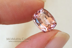 Pink Tourmaline Gemstone. Cushion Cut. 4.15 ct under daylight