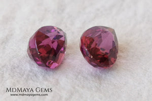 Vivid Purple Red Rhodolite Pair, 2.10 ct, pear cut. This natural and untreated gemstones have an excellent color, they will look perfect in any piece of jewelry. An affordable precious stones and amazing.