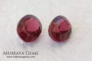 Purple Red Rhodolite Pair 3.41 ct. Oval cut. This beautiful pair of rhodolites shows the best color you can find in rhodolites. It has a very good size and they will look incredibly beautiful on some earrings or on a pair of cufflinks.