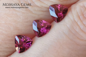 Purple Red Rhodolite Set, 2.52 ct, trillion cut. Beautiful set for your bespoke jewelry at an affordable price.