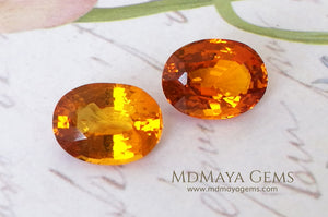 Rare Orange Clinohumite Gemstones Matched Pair Oval cut 2.61 ct